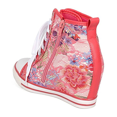 Toe Wedge up High Sneakers WestCoast Lace Women's Osscar Coral Fashion Cap Hidden 02 1 Top YwIYnqCBUF