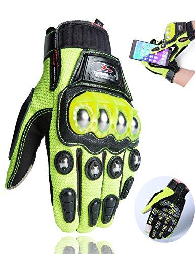 Motorcycle Gloves,Alloy Dirt Bike Motocross Motorbike Power Sports Racing Gloves Touch Screen Steel Reinforced Knuckle (Green,M)