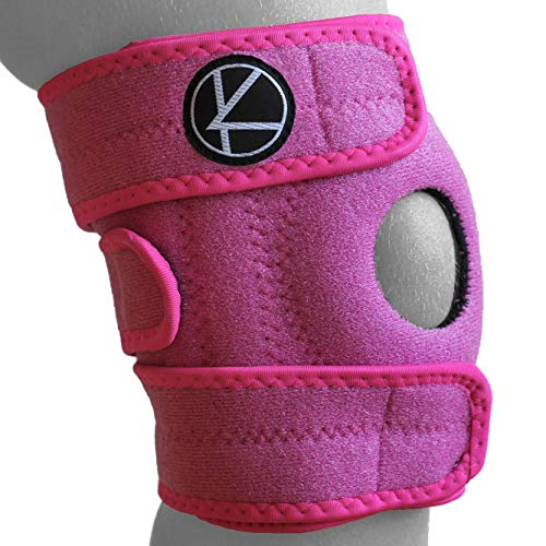 KARM Adjustable Kids Knee Brace Support (1 pc) - Best for Arthritis, ACL, MCL, LCL, Sports Exercise, Meniscus Tear. Open Patella Neoprene Stabilizer Wrap for Children, Boys, Girls (Pink)