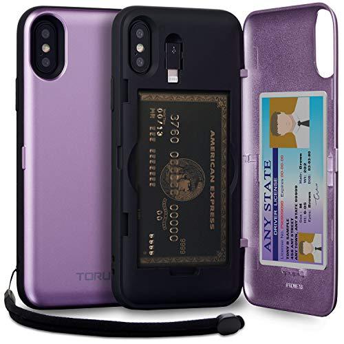 TORU CX PRO II iPhone XS ケース カード 紫の収納背面 3枚 カード入れ カバ― ミラー付き (アイフォンXS/アイフォンX 用) - ラベンダー