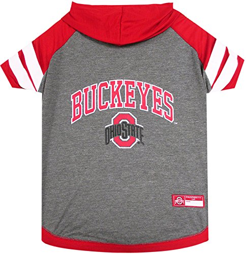 NCAA Ohio State Buckeyes Hoodie for Dogs & Cats, Medium. | Collegiate Licensed Dog Hoody Tee Shirt | Sports Hoody T-Shirt for Pets | College Sporty Dog Hoodie Shirt.