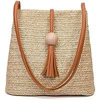 SODIAL Bali Vintage Sac a bandouliere en cuir fait a la main Sac de plage rond en paille Sac en rotin rond filles Petit sac a bandouliere boheme (Marron)