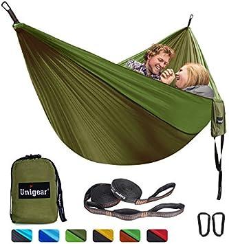Unigear Hamaca para Acampar 320 x 200 cm para 2 Personas, Hamaca Aoble Portátil Ligera de Nylon Paracaídas con Correas para Mochilero, Camping, Viajes, Playa, Jardín