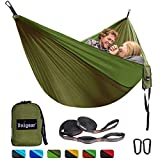 Unigear Camping Hammock, Portable Lightweight Parachute Nylon Hammock with Tree Straps for Backpacking, Camping, Travel, Beach, Garden (Oliver Green/Army Green)