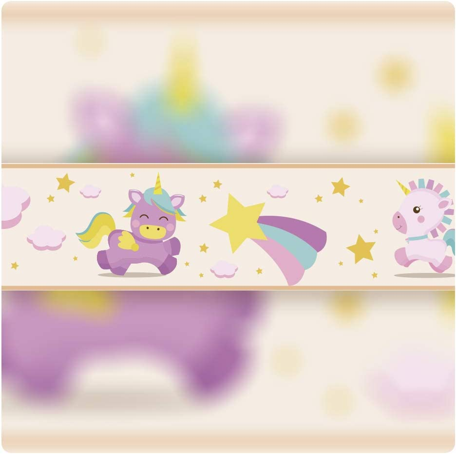 5 m x 15 cm Decoraci/ón de Pared Infantil setecientosgramos Cenefa Auto-Adhesiva Unicorn