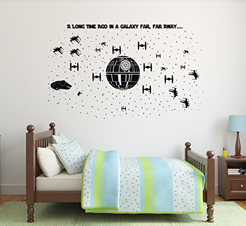 (Star Wars Wall Decor - Death Star Ultimate Battle Scene - Vinyl Decal For Boy's Bedroom, Gameroom or Playroom)