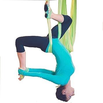 El yoga antigravedad Hamaca Correa volar para Yoga Pilates aérea la hamaca de yoga Pilates el columpio de yoga el equipo de la danza aérea Aerial Silks (Verde claro, 5)