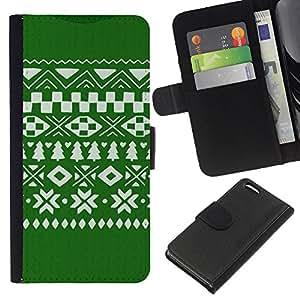All Phone Most Case / Oferta Especial Cáscara Funda de cuero Monedero Cubierta de proteccion Caso / Wallet Case for Apple Iphone 5C // Pattern Christmas Green White