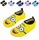 Mabove Kids Swim Water Shoes Non-Slip Quick Dry Barefoot Aqua Pool Socks Shoes for Boys & Girls Toddler (Glasses/Yellow, 22/23EU)