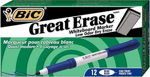 Bic Great Erase Whiteboard Marker, Fine Point, Blue , 12 Dry Erase Markers (3 Packages of 12 Dry Erase Markers) ()