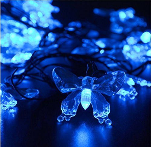 M.best Waterproof 4.8M/16FT 20LEDs Solar Lamps Butterfly garland fairy Christmas Outdoor Garden Party solar led decoration light (Blue)