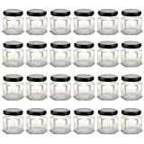 1.5 oz Hexagon Mini Glass Jars with White Lids and Labels (Pack of 24)