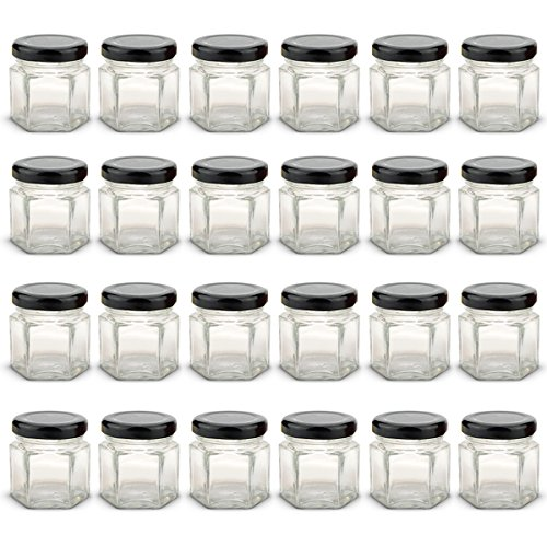 1.5 oz Hexagon Mini Glass Jars with Black Lids and Labels (Pack of 24)