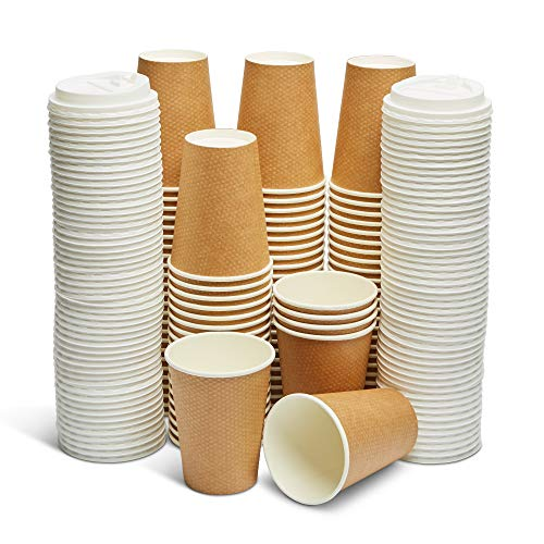 GeeOnyx Biodegradable 12 Oz Coffee Cups – 100 Pack – Resealable Lids – Reusable – Brown & White – Food Safe – Double Insulated Wall – Heavy Paper Cup – Home/Office/Travel – Eco-Friendly