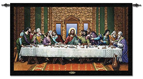 Last Supper Wall Tapestry with Free Metal Rod - 54''W x 34L'' - Made in the USA! by J. Thomas