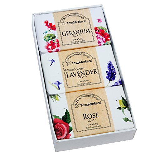 Flower Basket (Lavender, Rose, Geranium)- 3 Pieces Of 100gm Handmade Soap. Free of SLS, SLES, Paraben and carcinogenic ingredients.100% bio-degradable. Detoxifying. Relieves Eczema and sensitive (Bio Basket)