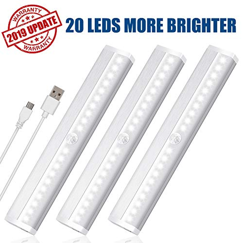 LED Closet Light Motion Sensor Under Cabinet Lighting 20 LEDs Rechargeable Security Closet Lights Wireless Portable Magnetic Stick on Anywhere Stairs Night Light for Counter Drawer Hallway, 3 Pack