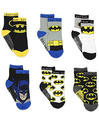 Batman Boy's 6 pack Socks with Grippers (2T-3T, Black/Multi)