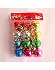 12 كرة لتزيين شجرة الكريسماس متعددة الالوان 3 سم