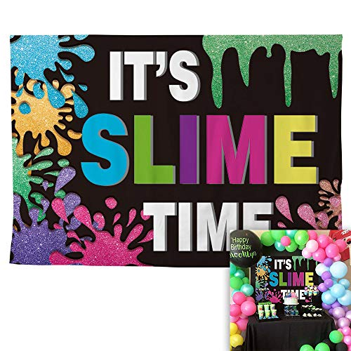 Allenjoy 7x5ft Polyester It's Slime Time Backdrop for Kids Colorful Fiesta Birthday Party Splatter Decorations Glow ThemedFavors Supplies Boy Girl Photography Background Photo Studio Booth Props