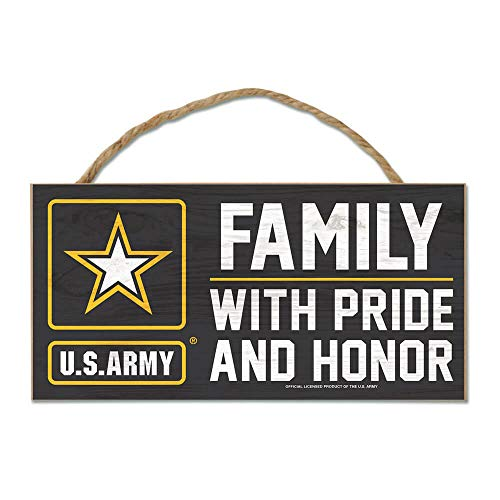 (WinCraft Army Official MILLITARY 5 inch x 10 inch Rope Hanging Wood Sign by 489883)