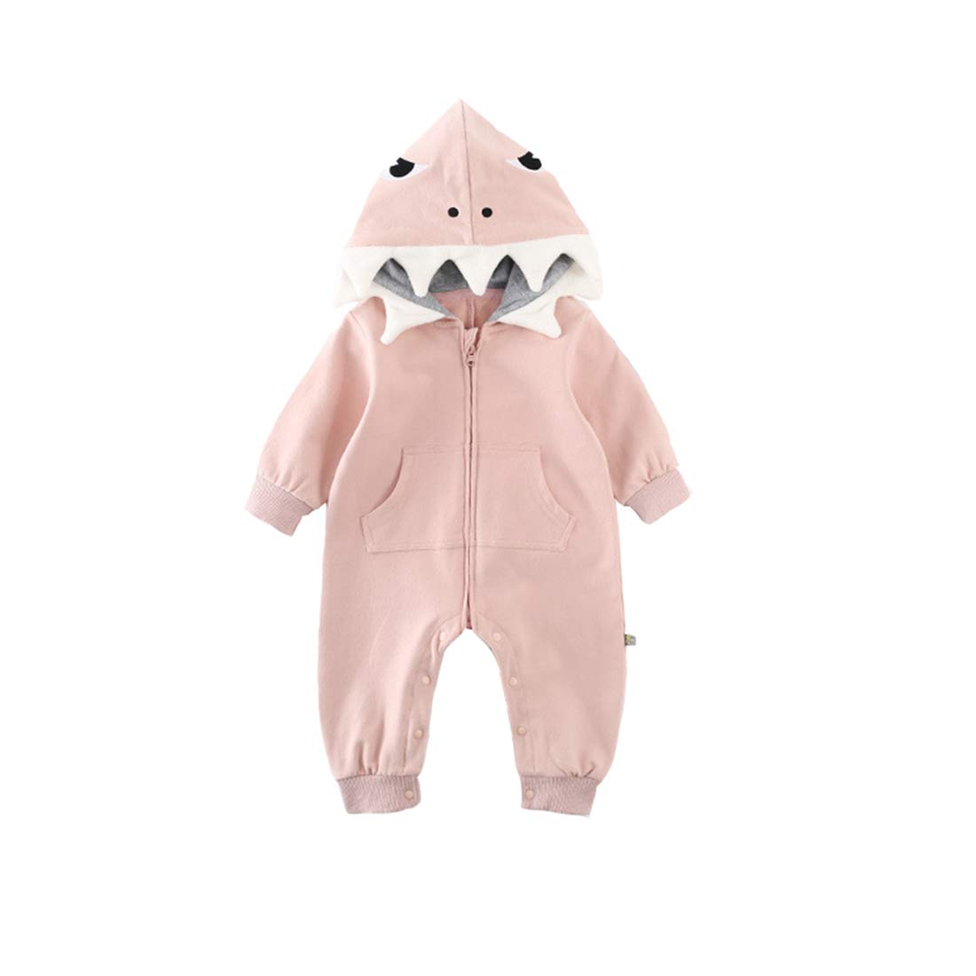 ALLAIBB Baby Shark Costume Onesie Cotton 3D Cartoon Romper Cute Jumpsuit Hooded Outwear for Newborn Infant Kids Boys Girls(3-6M, Pink)