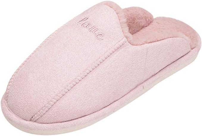 Wadonerful Women Winter Warm Soft Plush Slippers Men Memory Foam Indoor Non-Slip Floor Bedroom Indoor Shoes Home Slipper