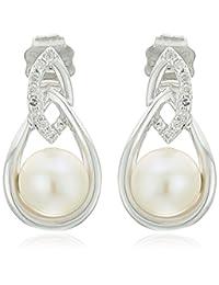 10K White Gold Fresh Water Pearl and Diamond Tear-Drop Earrings