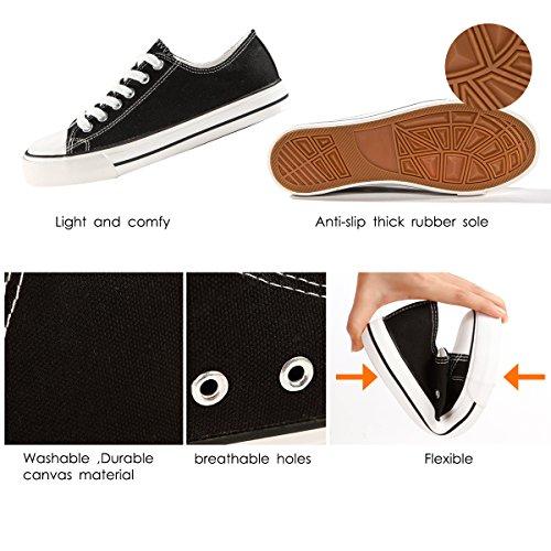 ZGR Damen Fashion Canvas Sneaker Low Cut High Cut Spitze UPS Freizeitschuhe Schwarz
