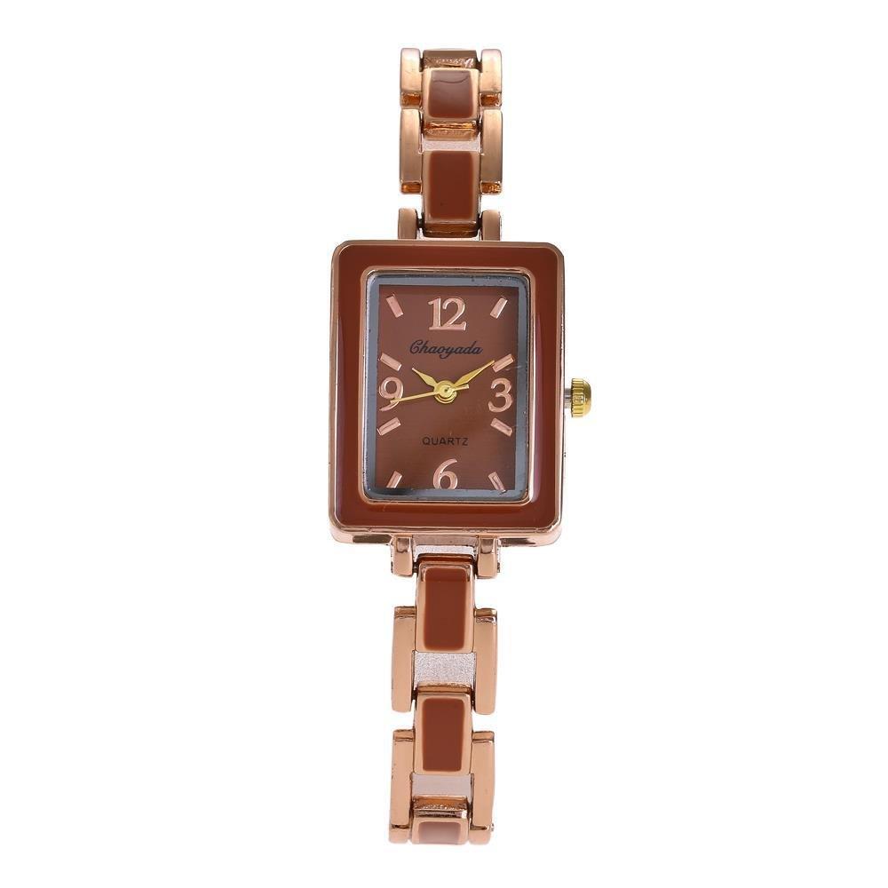 YAZILIND de cuarzo reloj de pulsera cuadrada reloj de pulsera de acero de titanio correa de moda: Amazon.es: Relojes