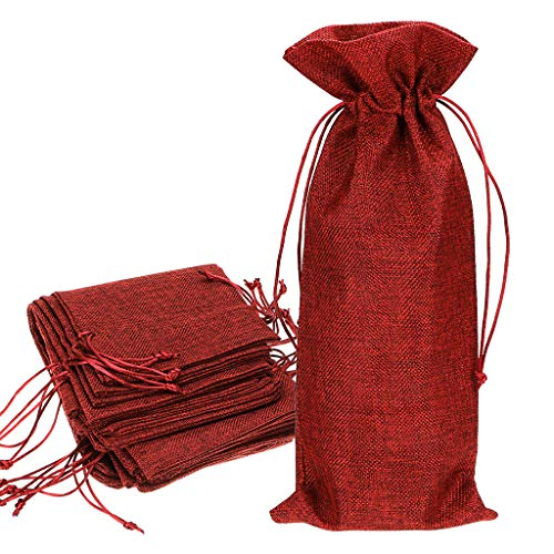 , Burlap Wine Bags With Drawstring Jute Red Wine Gift Bags Champagne Bottle Bag Covers for Wedding Party Favors Wine Tasting Party (Pack of 12) ()
