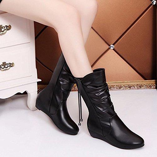 goma botas Zapatos Toe Black de Negro exterior Round botas de invierno de mujer para combate rqX1TxwXt