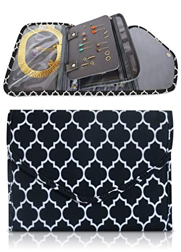 Brelox Jewelry Travel Organizer Case Bag Holder - Jewelry Storage Carrying Cases for Earrings, Necklaces, Rings, Bracelets (Black/White)