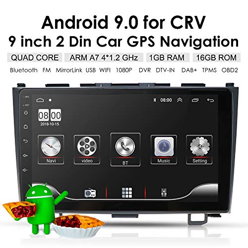 """Ossuret 9"""" Android 9.0 Car Stereo Audio for Honda CRV 2007-2011 Car GPS Navigation Head Unit Support WiFi Google Play Hand-Free GPS Steering Wheel Control"""