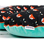 Fox Black and Green Nursing Pillow Cover Handmade Cotton Minky Cover With Zipper