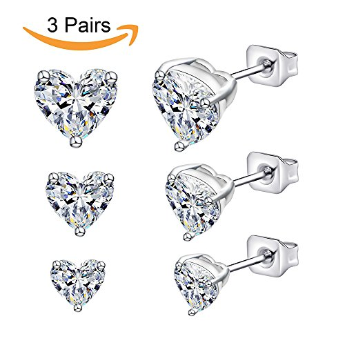 Anni Coco Jewelry 18K White Gold Plated Stainless Steel Clear CZ Ear Stud Earrings Set (3-6 Pairs) (3 Pairs Clear Heart Stud Earrings) (Triangle Boxes Heart)