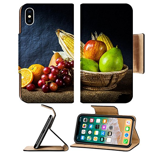 Liili Premium Apple iPhone X Flip Pu Leather Wallet Case Still life fruits fresh fruit display in wooden basket and some place on sack cloth Photo 24200924 by Liili Customized Premium Deluxe P