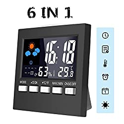 Upgrade Digital Temperature Hygrometer,PATHONOR Thermometer Humidity Monitor Digital Weather Station Humidity Meter Temperature Gauge,Large LCD Display/Alarm Clock/Time Date/Voice Control Backlit