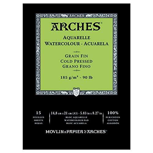 - Arches Watercolour Block Glued 1Side (12Sheets)-Fina-185g/mq-A5Grit