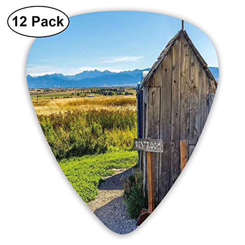 (Guitar Picks 12-Pack,Old Rustic Wooden Cottage Barn Shed In A Farm Village Image)