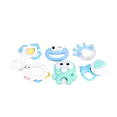 TINKSKY 6pcs Baby Rattles Teethers Set Shaking Bells Hand Bells Early Educational Toys for Infants Babies Newborn Boys Girls: Toys & Games