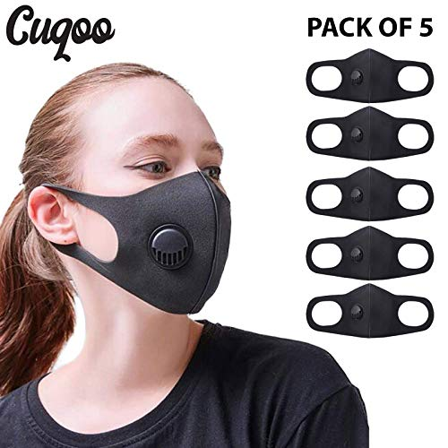 CUQOO 5x Anti Dust Mask with Filter, Face Mouth Mask, Fashion Reusable Washable Outdoor Unisex Mask, Filtered Anti…