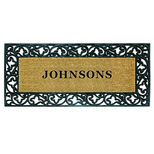 """Price comparison product image Nedia Home 18021 Rubber Coir 24"""" x 57"""" Acanthus Mat,  Personalized"""