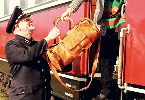"""Gusti Leder nature """"Michael"""" Reisetasche Handgepäck Umhängetasche Freizeittasche Wochenendtrip Tasche Sporttasche Weekender Groß Geräumig Vintage Elegant Schick Leder Damen Herren Braun R32b"""