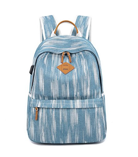 "Acmebon Unisex Vintage Canvas Backpack with USB Charge Port Fashion 15.6"" Laptop Rucksack Retro Blue by Acmebon (Image #8)"