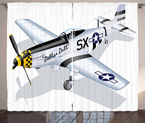 """Ambesonne Vintage Airplane Curtains, P-51 Dallas Doll Detailed Illustration American Air Force Classic Plane, Living Room Bedroom Window Drapes 2 Panel Set, 108"""" X 90"""", Grey White"""