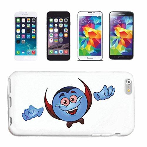 "cas de téléphone iPhone 5 / 5S ""BLEU SMILEY AS VAMPIRE ""sourire EMOTICON sa SMILEYS SMILIES ANDROID IPHONE EMOTICONS IOS APP"" Hard Case Cover Téléphone Covers Smart Cover pour Apple iPhone en blanc"
