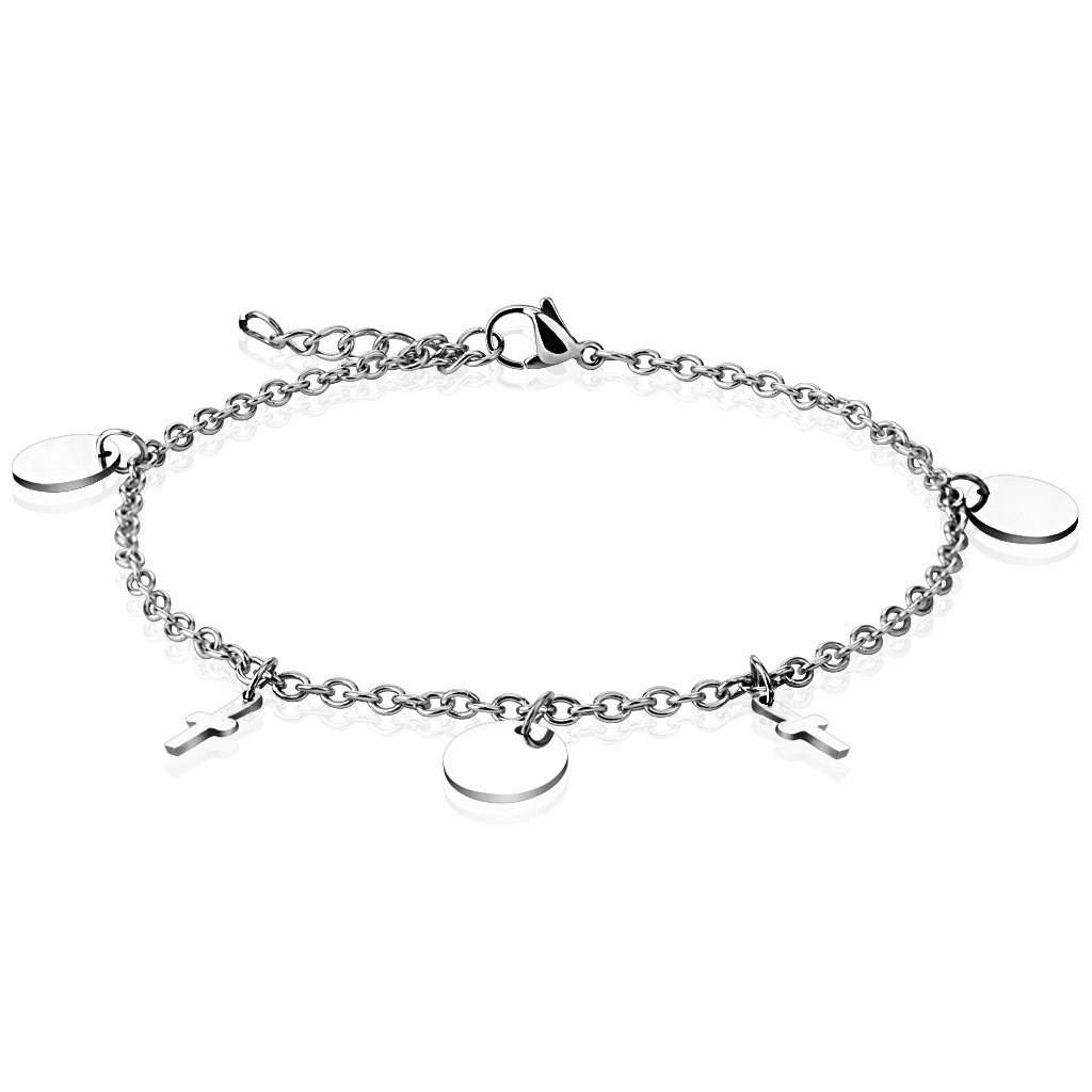 Jinique JSB-7147 Dangle Round and Cross Charms Stainless Steel Chain Anklet Bracelet
