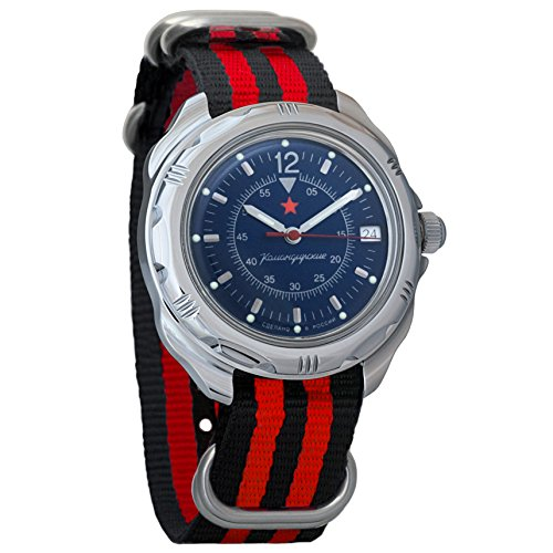 Vostok Komandirskie Dark-Blue Dial Army Mechanical Mens Military Commander Wrist Watch #211398 (black+red)