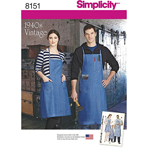 Pattern Aprons Misses (Simplicity Creative Patterns Simplicity Pattern 8151 Vintage Aprons for Boys, Girls, Misses and Men, Size: A)